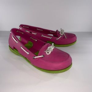 Crocs Women's Pink with Green Loafers Slip Ons